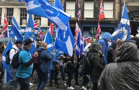 Brexit Saltires versus Union Jacks, Large demonstration for Independence Edinburgh cropped.JPG